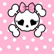 Cute Skull with bow — Imagen vectorial