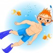 Boy swimming under water - Stock Vector