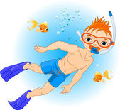 Boy swimming under water — Vector de stock