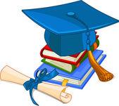 Graduation cap and diploma — Stockvektor