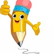 Pencil Character giving thumbs up — Stock Vector