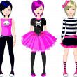 Three  Emo stile girls — Stockvectorbeeld