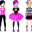 Three Emo stile girls — Stock Vector