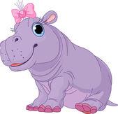 Cartoon baby Hippo girl — Stock Vector