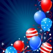 图库矢量图片: Balloons card for Fourth of July