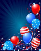 Tarjeta de globos para el cuatro de julio — Vector de stock
