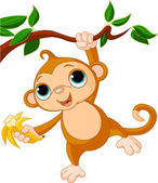 Baby monkey on a tree — Vetor de Stock