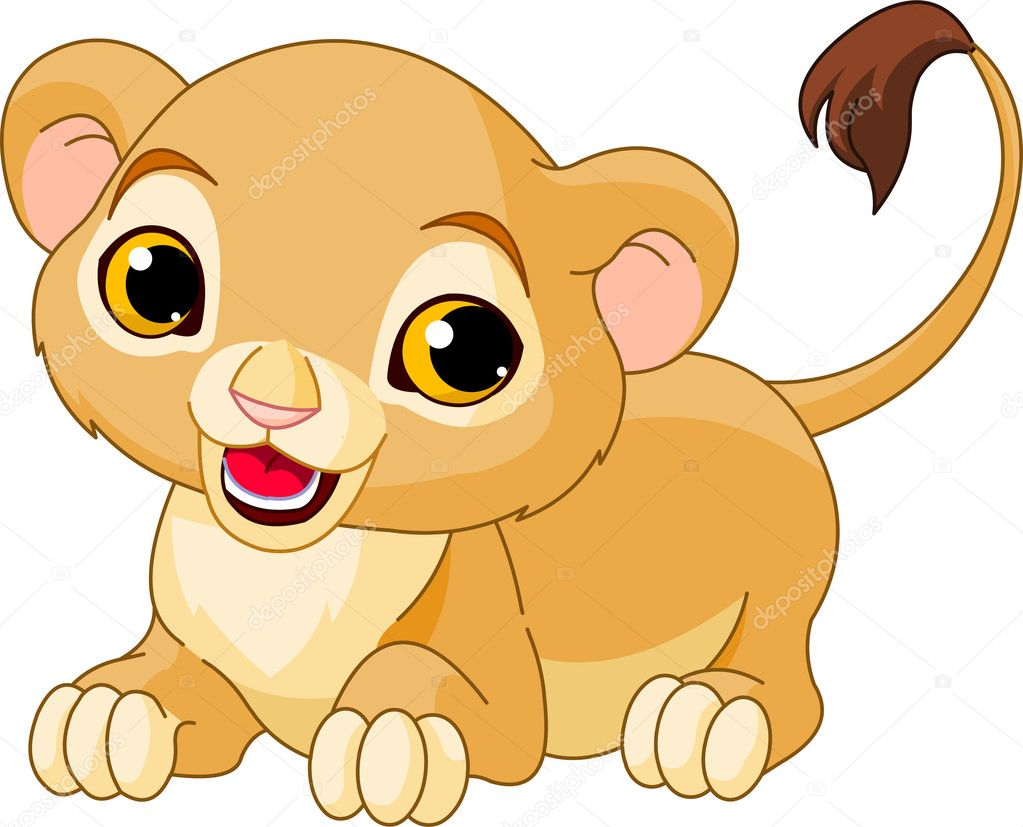 Raring cute Lion Cub of a white background — Stock Vector #5585220