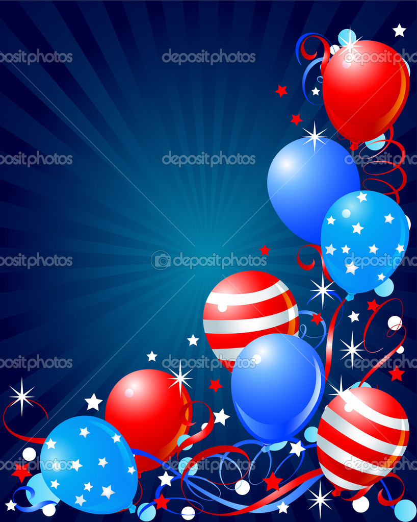 Colorful Balloons card for Fourth of July  — Stock Vector #5586380