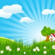 Summer landscape with little house - Stock Vector