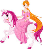 Princess riding horse — Stockvector