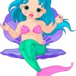 Stock Vector: Mermaid baby in the shell