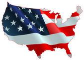 American flag map — Stock Vector
