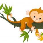 Детские Обезьяна на дереве — Cтоковый вектор