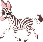 Cute running baby Zebra — Stock Vector