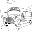 School Bus coloring page - Stock Vector