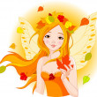 Autumn fairy with leaf — Image vectorielle