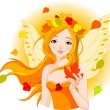 Autumn fairy with leaf - Stock Vector