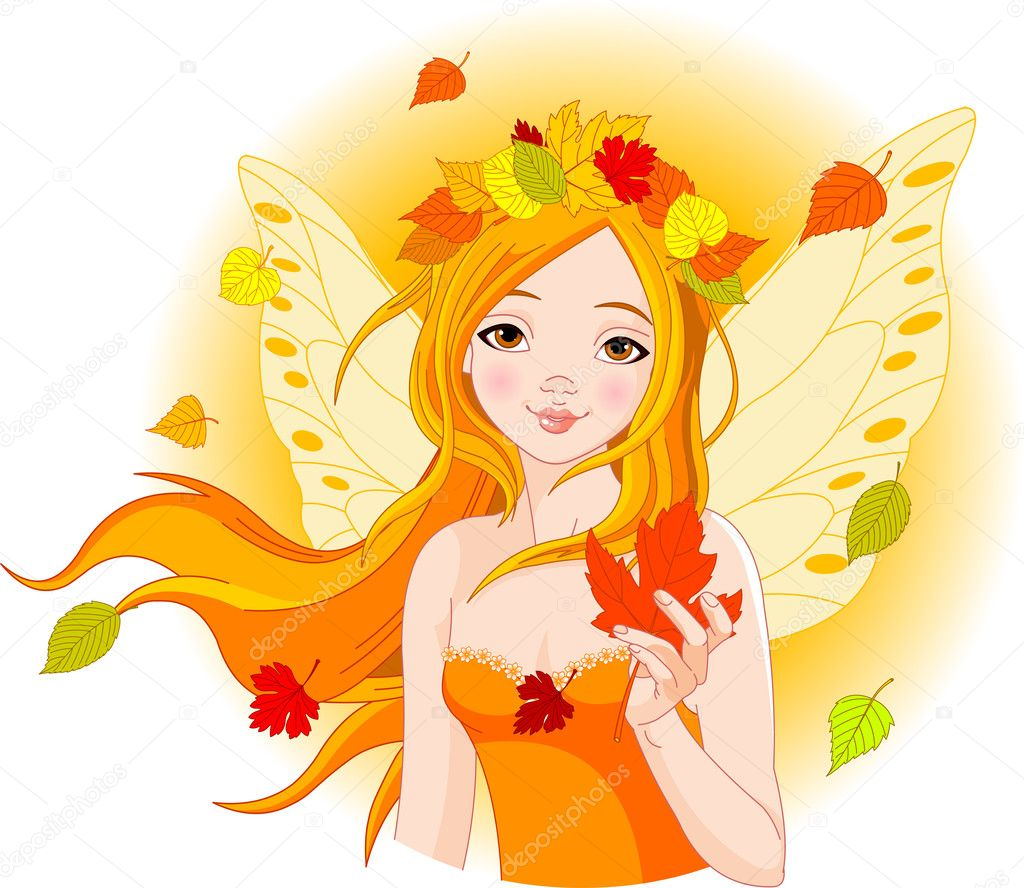 Illustration of beautiful Autumn fairy with Maple Leaf — Stock Vector #6175892
