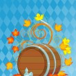 Oktoberfest design with keg - Stock Vector