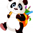 Cute panda go to school — Stock Vector #6181169
