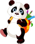 Cute panda go to school — Stock Vector