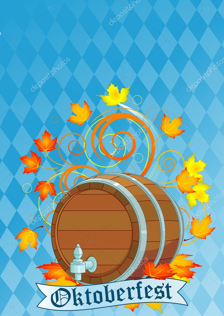 Decorative Oktoberfest design with beer keg  — Stock Vector #6181168