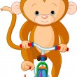 Monkey  on Bicycle - Stock Vector