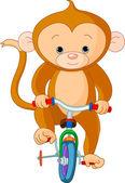 Monkey on Bicycle — Stock Vector