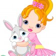 Little girl hugging toy bunny — Stock Vector