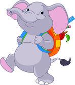 Cute elephant go to school — Stock Vector