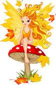 Autumn Fairy on the Mushroom — Stock Vector
