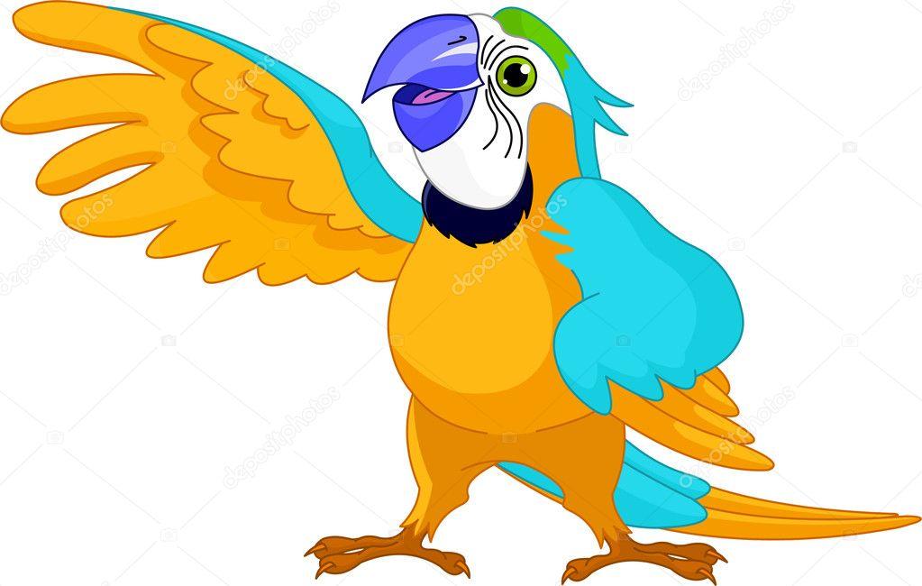 快乐说话鹦鹉的插图 — 矢量图片作者 dazdraperma