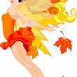 Stock Vector: Autumn fairy