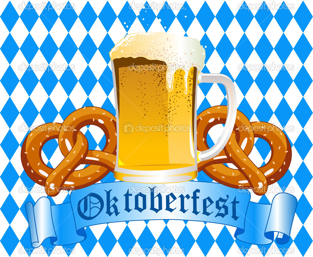 Oktoberfest Celebration Background with Beer and Pretzel  Stock Vector #6465441