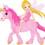 Fairy on unicorn — Stock Vector