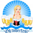 Oktoberfest girl serving beer — Stockvectorbeeld