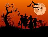 Fondo halloween con siluetas de truco o tratar de niño — Vector de stock