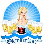 Oktoberfest meisje serveren bier — Stockvector