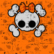 Stock Vector: Cute Halloween Skull with bow
