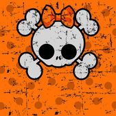Cute Halloween Skull with bow — Stock Vector