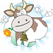 Cow with an orange flower — Stock Vector
