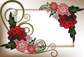 Frame of red flowers — Stock Vector