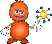 Creatura pelosa arancia con un fiore — Vettoriale Stock