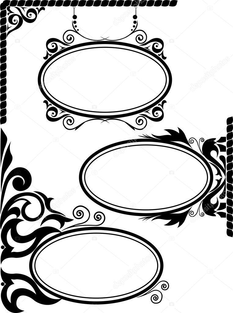 椭圆形相框 — 图库矢量图像08