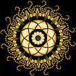 Golden mandala on the black - Stock Vector