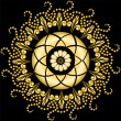 Golden mandala on the black — Stock Vector