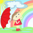 Girl under the rainbow — Stock Vector #5900462