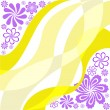 Stock Vector: Purple flowers on yellow