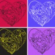 Stock Vector: Set filigree hearts